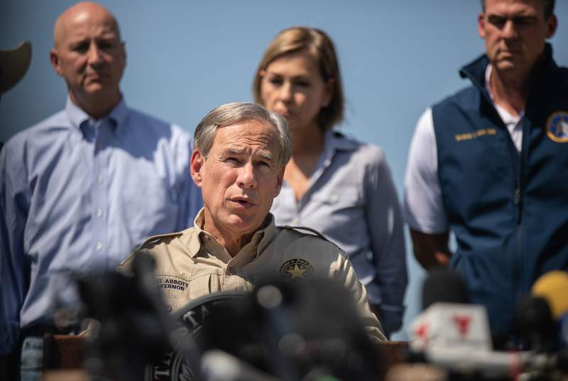 Gov. Greg Abbott speaks at a press conference with nine other governors regarding the southern border at Anzalduas Park in Mission on Oct. 6, 2021.