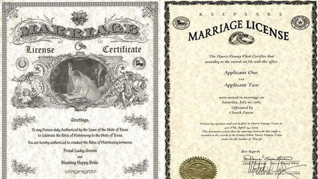 """The Harris County Clerk unveiled its new marriage license design Thursday. The new layout scraps the traditional, 1800s-era image of a man and woman. It also no longer refers to the couple as a """"Proud Lucky Groom"""" and """"Blushing Happy Bride"""", but rather """"Applicant One"""" and """"Applicant Two""""."""