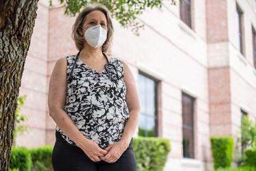 Dr. Christine Eady Mann outside the medical building in Cedar Park where she works. Mann took out and paid back a Paycheck Protection Program loan for her U.S. House campaign.      Sergio Flores for The Texas Tribune