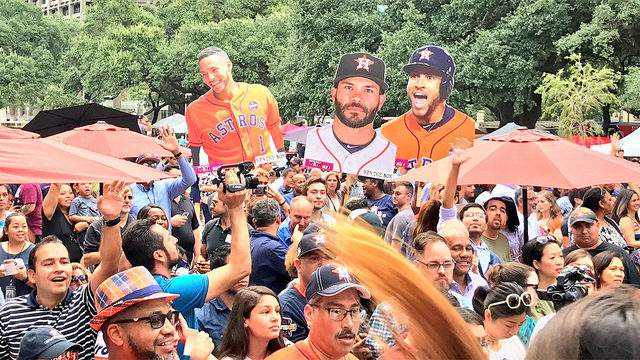 Houston Astros fans at City Hall for a rally on Oct. 3, 2018.