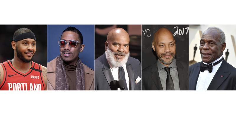"This combination photo shows, from left, Carmelo Anthony, Nick Cannon, David Alan Grier, John Ridley and Danny Glover who will be featured on ""Soul of a Nation,"" an ABC newsmagazine focused on Black life in America. (AP Photo)"