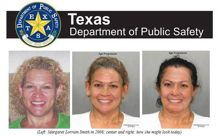 Texas Department of Public Safety lists Margaret Smith as a most wanted fugitive