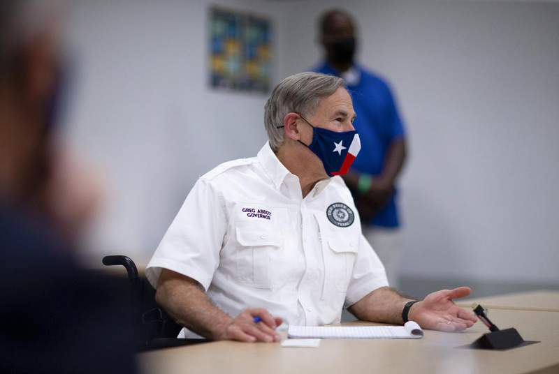 Gov. Greg Abbott meets with local leaders in El Paso to discuss the novel coronavirus on Aug. 13, 2020. (Credit: Ivan Pierre Aguirre for The Texas Tribune)