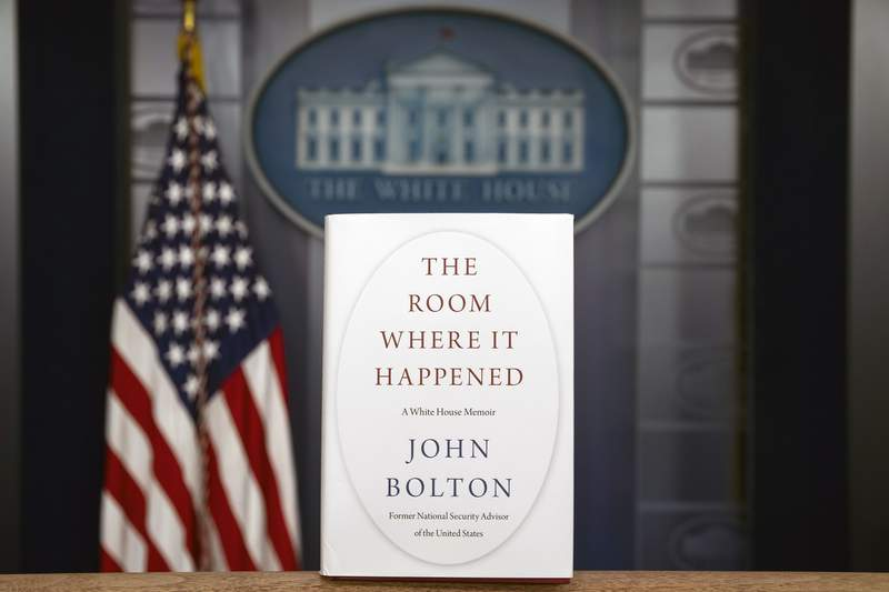 """A copy of """"The Room Where It Happened,"""" by former national security adviser John Bolton, is photographed at the White House, Thursday, June 18, 2020, in Washington. (AP Photo/Alex Brandon)"""