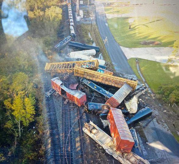 Train derailment in Orange County on Oct. 29, 2020.