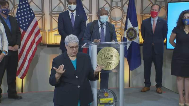 Houston Mayor Sylvester Turner gave a news conference Monday where urges people to continue to wear masks and practice good hygiene in order to thwart the spread of coronavirus in the community.