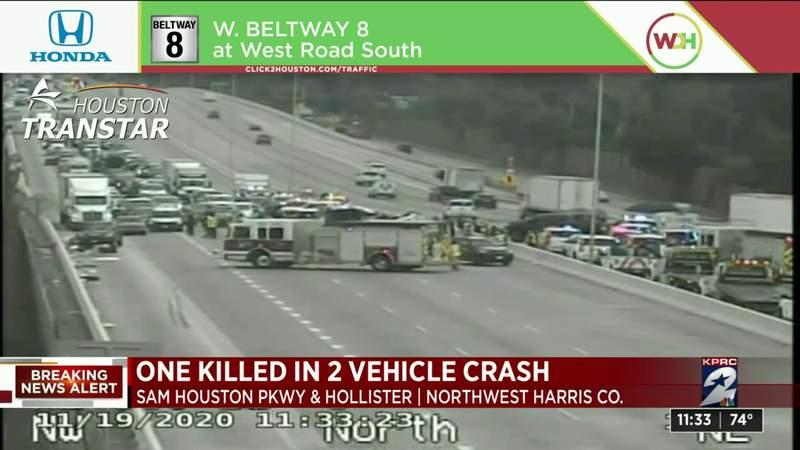 One killed in 2-vehicle crash in northwest Houston, authorities say