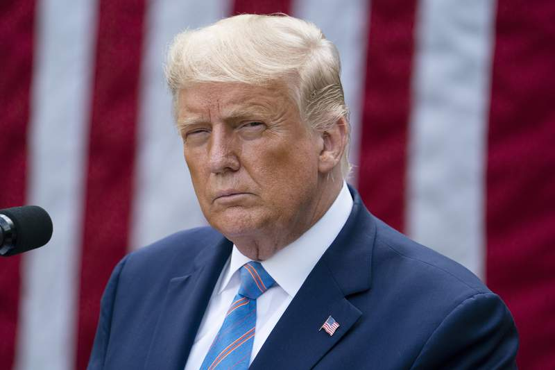 President Donald Trump speaks about coronavirus testing strategy, in the Rose Garden of the White House, Monday, Sept. 28, 2020, in Washington. Trumps long-hidden tax returns leaked out. His first debate performance ignited a firestorm over white supremacy. He was hospitalized for COVID-19 after months of playing down the threat of a pandemic that has killed more than 200,000 Americans.  And that was just this week.  (AP Photo/Evan Vucci)