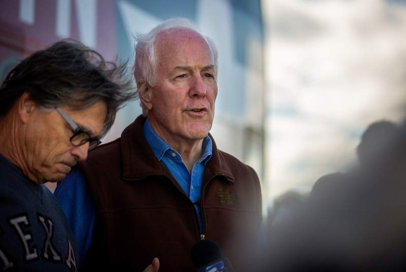 U.S. Sen. John Cornyn, R-Texas, visited College Station on Oct. 28, 2020, as part of his statewide bus tour. Cornyn was also joined by Rick Perry and Pete Sessions at this campaign stop.