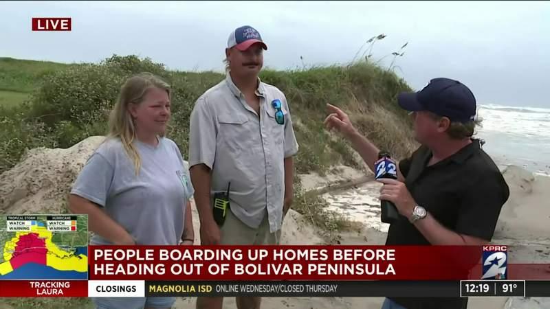 People boarding up homes before evacuating Bolivar Peninsula