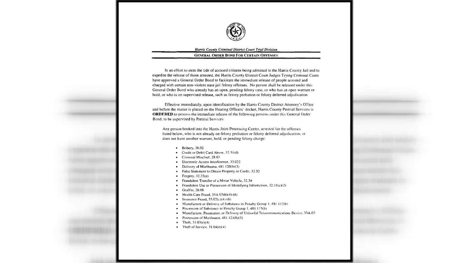 El Condado de Harris ordena la liberación de algunos acusados no violentos de la cárcel después de la preocupación de un brote viral 1
