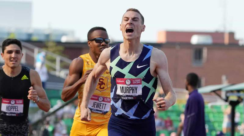 Clayton Murphy roars as he crosses the finish line in first place June 21 at the U.S. Olympic Trials in Eugene, Oregon.