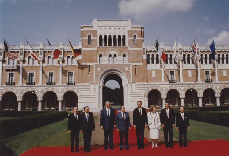 G7 Economic Summit of Industrialized Nations world leaders in front of Lovett Hall, Rice University