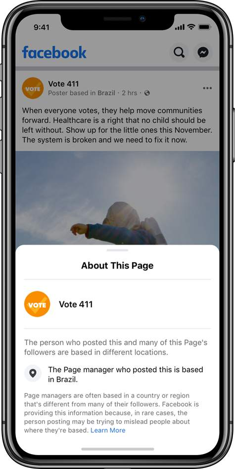 This undated image provided by Facebook shows a sample screenshot of Facebook. Facebook says it will start to include the location of popular election-related pages in every post they make on its site and on Instagram. (Facebook via AP)