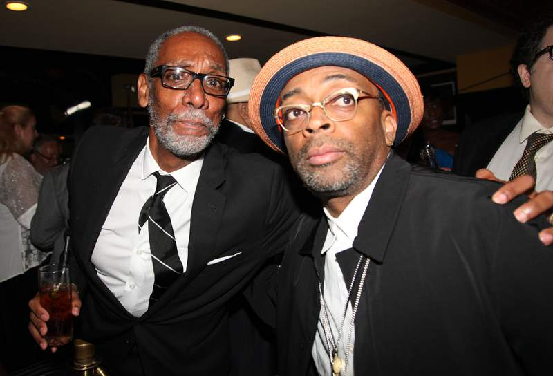 """FILE PHOTO - NEW YORK, NY - AUGUST 02:  (L-R) Thomas Jefferson Byrd and Spike Lee  """"Mike Tyson: Undisputed Truth"""" Broadway Opening Night at Longacre Theatre on August 2, 2012 in New York City.  (Photo by Johnny Nunez/WireImage)"""