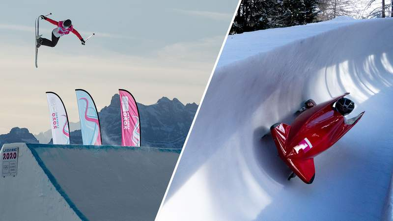 Freeski big air (left) and women's monobob (right) are two of the new events making their Olympic debuts in Beijing.
