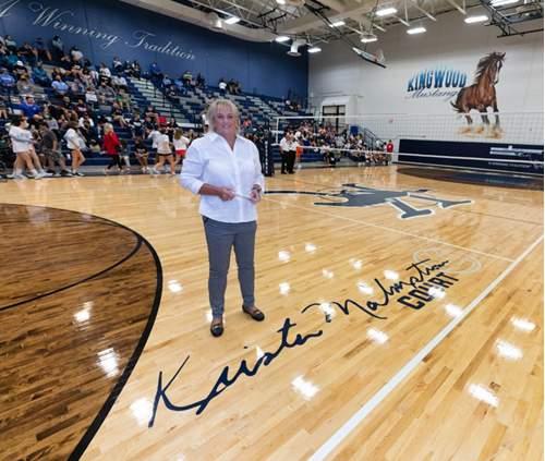 Kingwood High School honored longtime volleyball head coach, Krista Malmstrom.