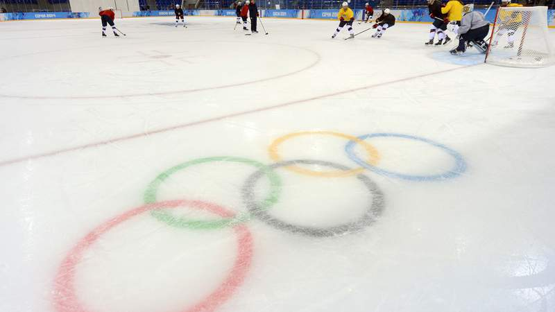Feb 6, 2014; Sochi, RUSSIA; A general view of the Olympic rings logo during USA women's ice hockey practice in preparation for the 2014 Sochi Olympic Winter Games at Shayba Arena.