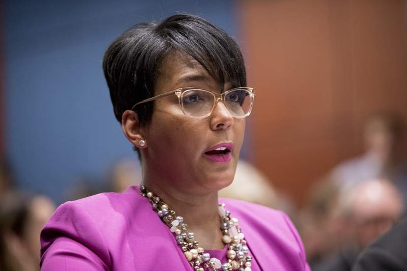 FILE - In this July 17, 2019, file photo, Atlanta Mayor Keisha Lance Bottoms speaks during a Senate Democrats' Special Committee on the Climate Crisis on Capitol Hill in Washington. When the United States erupted in unrest following Martin Luther King Jr.s assassination in 1968, his hometown of Atlanta was one of the few major cities to maintain relative peace. Mayor Keisha Lance Bottoms invoked that history in a passionate and deeply personal plea for protesters to go home. (AP Photo/Andrew Harnik, File)