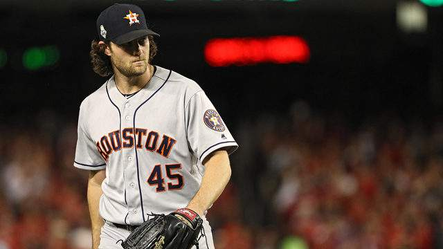 Gerrit Cole #45 of the Houston Astros reacts against the Washington Nationals in Game Five of the 2019 World Series at Nationals Park on October 27, 2019 in Washington, DC.
