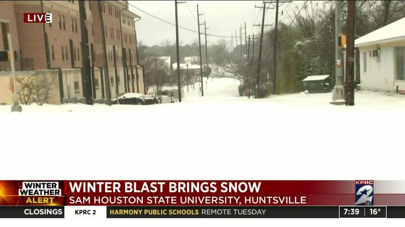 Snow covering Sam Houston State University's campus
