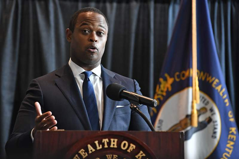 FILE - In this Sept. 23, 2020 file photo, Kentucky Attorney General Daniel Cameron addresses the media following the return of a grand jury investigation into the death of Breonna Taylor, in Frankfort, Ky.  Impeachment fever has struck Kentucky. Citizen's petitions are seeking to oust both the governor and the attorney general.  (AP Photo/Timothy D. Easley, File)
