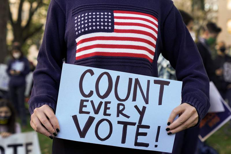 Demonstrators attend a rally to support all votes being counted one day after Election Day, Wednesday, Nov. 4, 2020, in Washington. (AP Photo/John Minchillo)