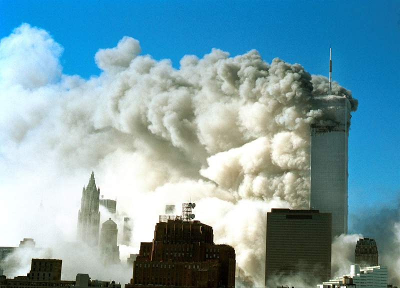 Smoke pours out of the World Trade Center after the Twin Towers were struck by two planes during a terrorist attack Sept. 11, 2001 in New York City.