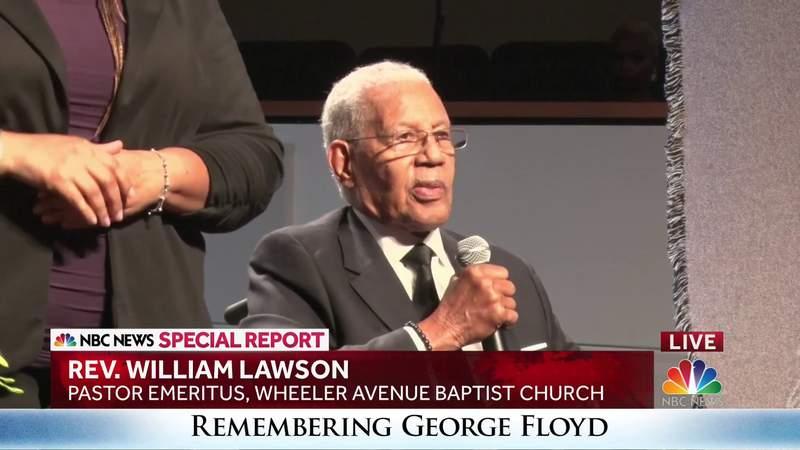 Rev. William Lawson speaks at George Floyd's service