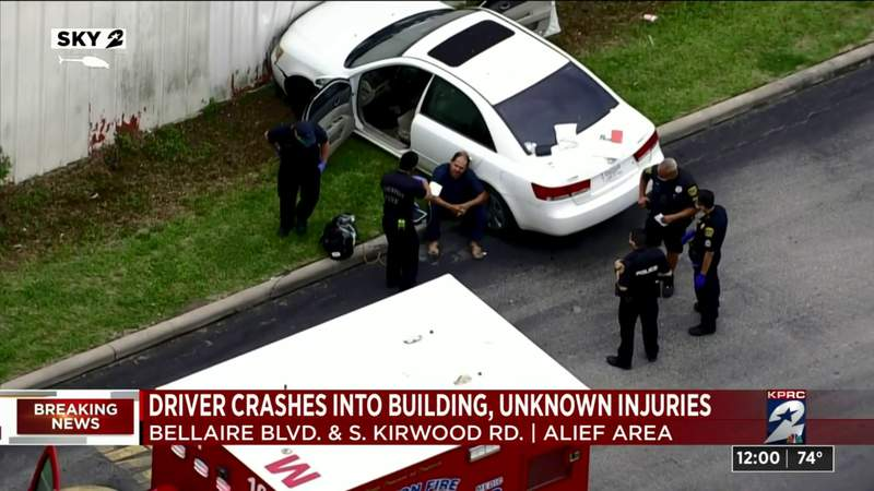 Driver crashes into building in Alief area, unknown injuries