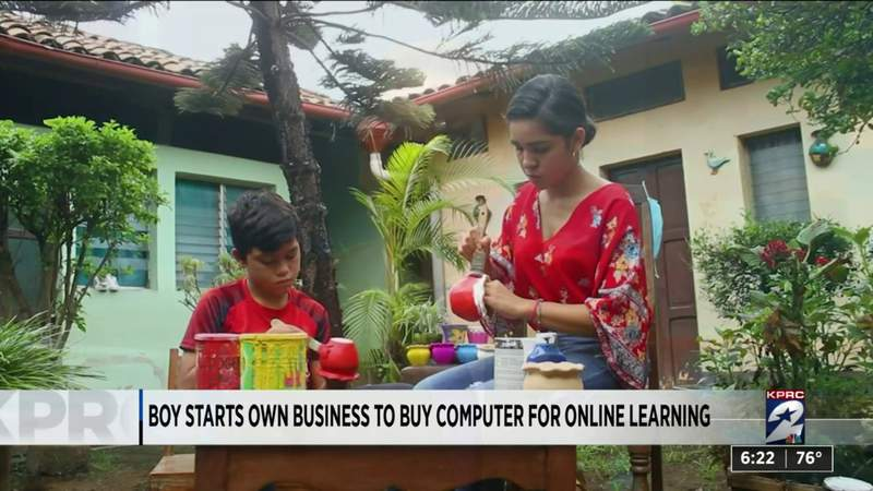 One Good Thing: Boy starts own business to buy computer for online learning