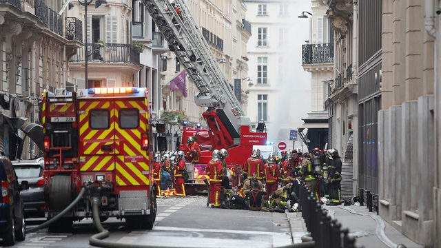PARIS, FRANCE - JANUARY 12: Emergency services attend a huge explosion which occurred in a bakery in Rue de Trévise in the 9th Arrondissement on January 12, 2019 in Paris, France. Several injuries and no deaths have been reported in the blast, suspected to have been caused by a gas leak. (Photo by Kiran Ridley/Getty Images)