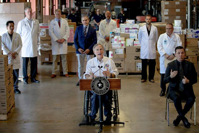 Gov. Greg Abbott speaks during a press conference about the state's response to the coronavirus on Tuesday in Austin on March 24, 2020.