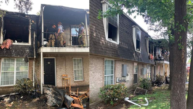 Two people were critically injured Friday during an apartment fire at 300 Audrey Lane in northeast Houston, according to investigators. (Photo courtesy of Harris County Sheriff's Office Captain Patrol District 3)