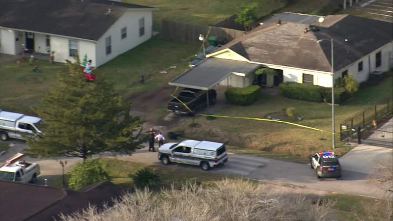 Police investigate a fatal shooting at a home in north Houston on Dec. 22, 2020.