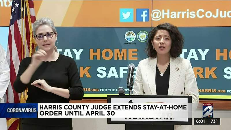 Harris County judge extends 'stay home, work safe' order till end of April