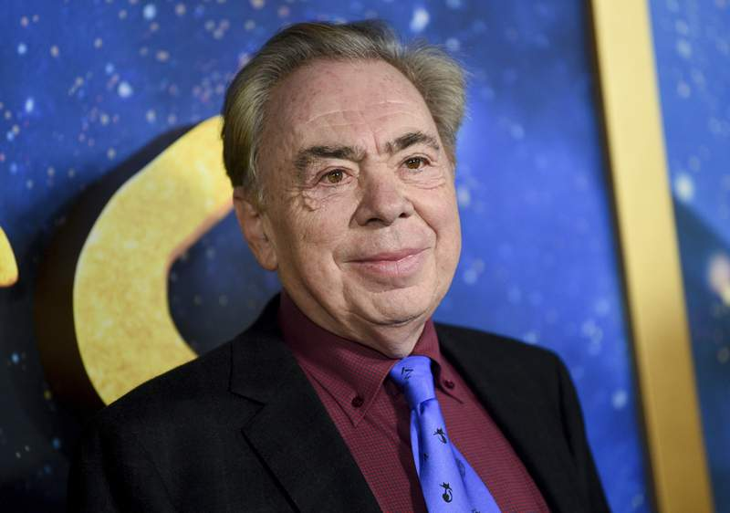 """FILE - This Dec. 16, 2019 file photo shows composer and executive producer Andrew Lloyd Webber attending the world premiere of """"Cats"""" in New York. Webber is celebrating the 50th anniversary of the release of his Jesus Christ Superstar album with the first single from his latest musical  Cinderella. The song is called Bad Cinderella and is sung by Carrie Hope Fletcher, who plays the title character in what is being billed as a complete reinvention of the classic fairytale. (Photo by Evan Agostini/Invision/AP, File)"""