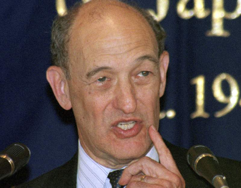 FILE - In this June 17, 1999, file photo, Harvard professor Ezra Vogel gestures while speaking during his luncheon speech at the Foreign Correspondents' Club of Japan in Tokyo. Vogel, a leading U.S. scholar on East Asia whose biography of Chinese leader Deng Xiaoping won acclaim and awards, died Sunday, Dec. 20, 2020, in Cambridge, Mass. Vogel was 90. (AP Photo/Katsumi Kasahara, FIle)