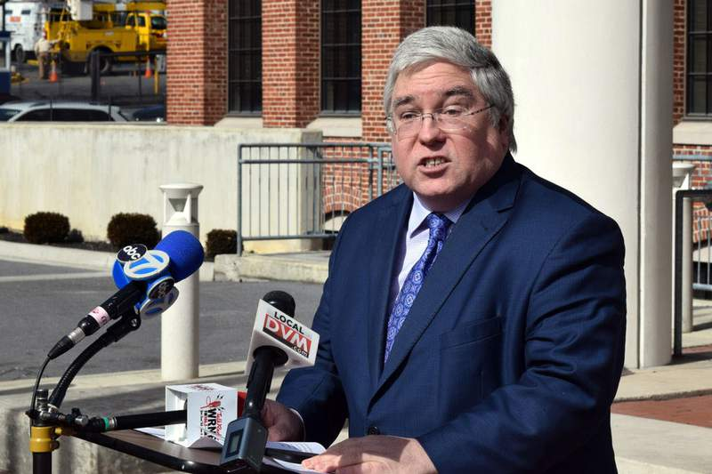 FILE - In this Feb. 19, 2019, file photo, West Virginia Attorney General Patrick Morrisey speaks at a news conference in Martinsburg, W.Va. The West Virginia Supreme Court on Tuesday, April 21, 2020, upheld a so-called right-to-work law, overturning a lower court ruling that had sided with labor unions. Morrisey called the latest decision a major victory for worker choice. (Matthew Umstead/The Herald-Mail via AP, FIle)