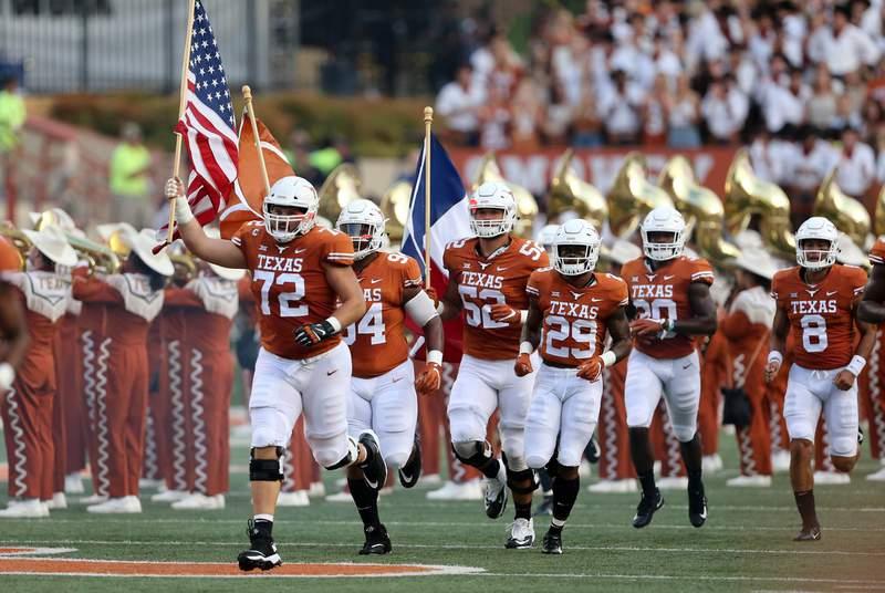 The University of Texas Longhorns at Darrell K Royal Memorial Stadium in Austin.