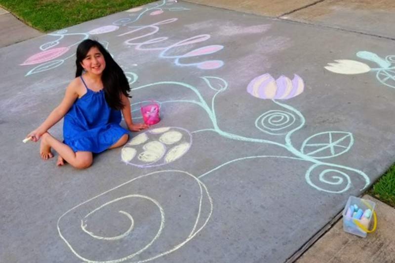 Sidewalk chalk art by 9-year-old Sophia from Katy, TX