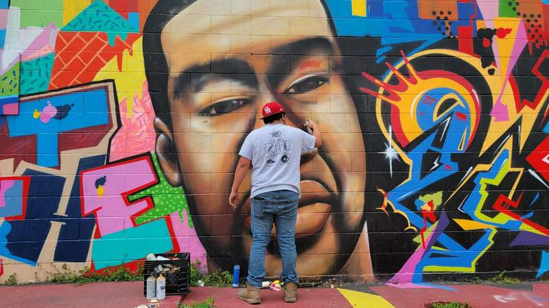 A George Floyd mural in downtown Houston was vandalized overnight Thursday.