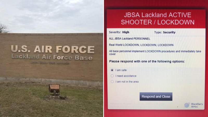 Joint Base San Antonio-Lackland is on lockdown Wednesday afternoon due to a report of an active shooter. Images: Google Maps, Gregorio A. Armand via Facebook