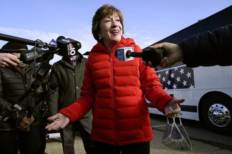 FILE - In this Nov. 4, 2020, file photo Republican Sen. Susan Collins, R-Maine, speaks to reporters in Bangor, Maine. (AP Photo/Robert F. Bukaty, File)