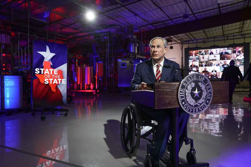 Gov. Greg Abbott prepares to deliver his State of the State speech at Visionary Fiber Technologies outside of Lockhart on Feb. 1, 2021.