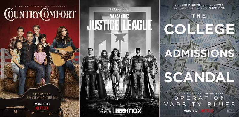 """This combination of photos shows promotional art for the Netflix series Country Comfort, debuting on Friday, left, """"Zack Snyders Justice League,"""" premiering March 18, center, and Operation Varsity Blues, a documentary about the college admissions scandal, premiering March 17 on Netflix. (Netflix/HBO Max/Netflix via AP)"""