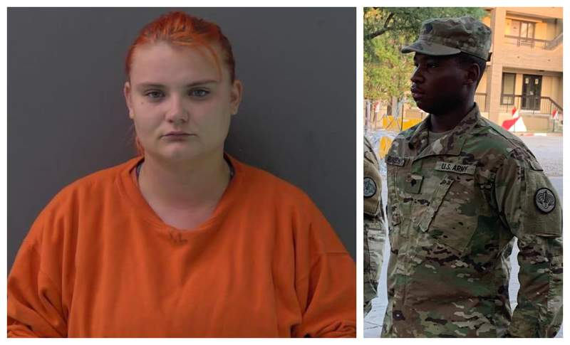Cecily Aguilar, 22, (left) was charged in connection with the disappearance of Vanessa Guillen. U.S. Army Specialist Aaron Robinson, 20, (right) who officials say committed suicide this week, is accused of killing Guillen.