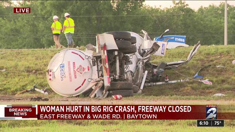 Woman hurt in big rig crash, freeway closed