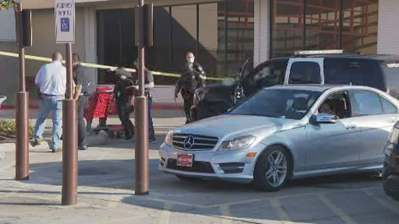 Houston police investigating a shooting outside Target at Memorial City Mall on Nov. 1, 2020.