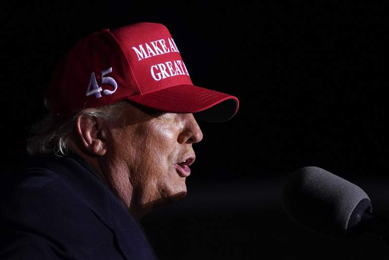 FILE - In this Nov. 2, 2020, file photo President Donald Trump speaks during a campaign rally at Kenosha Regional Airport, Monday, Nov. 2, 2020, in Kenosha, Wis. (AP Photo/Evan Vucci, File)